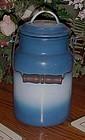 Vintage blue and white french Enamel milk pail with lid