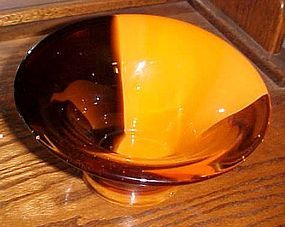 Rootbeer brown  and orange art glass bowl Teleflora
