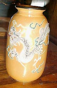 Vintage Nippon peach lustre dragonware vase with blue eyed dragon