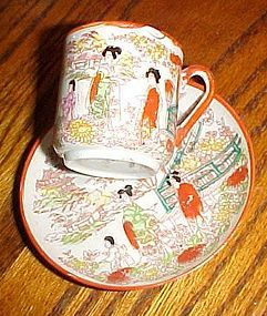 Japan Geisha girl demitasse cup and saucer set