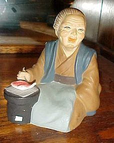 Vintage Wales Old Japanese woman with fish figurine Hakata Urasaki