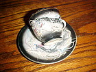 Vintage black/grey dragonware demi cup and saucer with lithopane