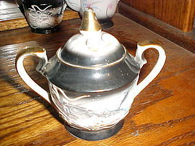 Vintage black grey dragonware sugar bowl and lid Demitasse Japan