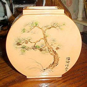 Asian designed  ceramic vase with Bonsai tree