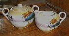 Takito TT hand painted creamer and sugar set desert oasis camel scene