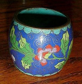Antique cloisonne toothpick or match holder stamped China