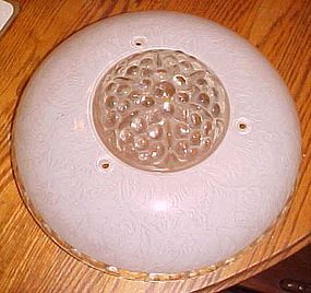 Vintage deco frosted floral ceiling light shade 3 holes bubbles center