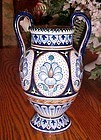 "Old Italy Faence vase with handles and cobalt decorations 8.5"" tall"