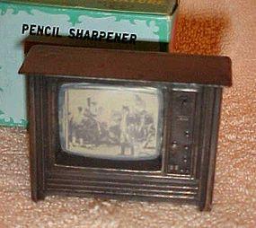 Miniature Die cast console Television pencil sharpener in box