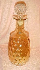 Vintage marigold carnival bourbon decanter bottle.thumbprint pattern