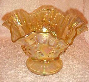 Westmoreland ruffled yellow carnival glass bowl paneled grape