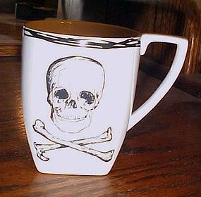 Large Coventry cross bones and skull coffee cup  Halloween or Pirate