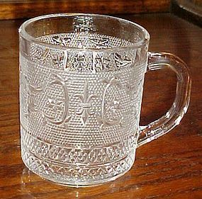 Clear sandwich glass fleur de lis S coffee mug