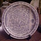 Vernon Kilns blue transferware Arizona state souvenir plate