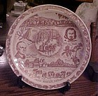 Vermont souvenir plate by Vernon Kilns with Freeman's Oath