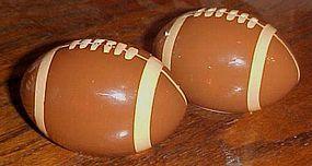 Ceramic footballs salt and pepper shakers
