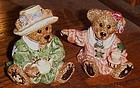Boyds Bears Bearware pottery salt and pepper shakers tea time