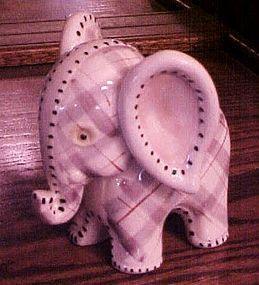 Vintage Napco lavender plaid elephant nurserty planter