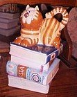 BICO Tabby cat kitty in stack of books cookie jar