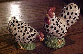 Black and white dominicker chickens salt and pepper shakers