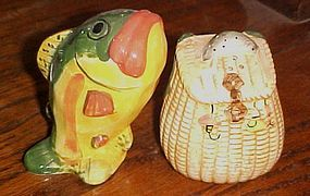 Big Bass fish and creel ceramic salt and pepper shakers