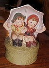 Vintage music box, boy and girl under umbrella