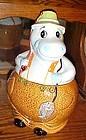 Vintage ceramic Hippo fisherman cookie jar JAPAN