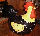 Colorful ceramic chicken cookie jar Red blue yellow with dots