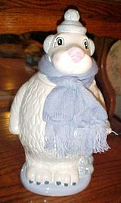 Adorable polar bear cookir jar with knit scarf and snowballs retired