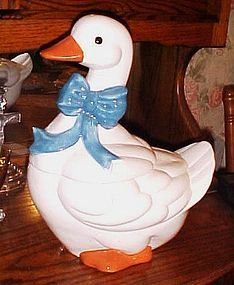 Retro Glenda blue ribbon goose cookie jar PERFECT
