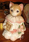 Mervyns Miss Emily kitty cat cookie jar, glass eyes