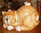 Vintage Treasure Craft sleepy kitty cat with mouse on back cookie jar