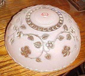 Vintage glass ceiling light cover shade pink with flowers 3 hole
