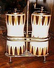 Large vintage 50's 60's Salt and pepper mill in  metal stand caddy