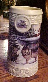 Miller Holiday beer stein December Dusk wolves