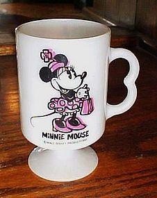 Walt Disney Minnie Mouse milk glass pedestal mug 1970's