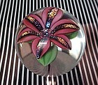 Beautiful Orient & Flume dichroic Lily paperweight signed Sillars