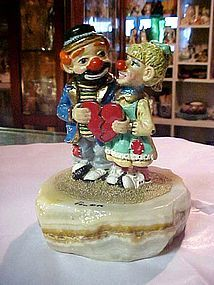 Ron Lee clown figurine 24k gold limited edition couple with heart 1988