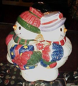 Snowman trio cookie jar  Jolly Christmas cookie storage