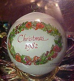 Hallmark satin ball ornament 1982 Christmas season bright with love
