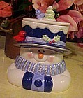Houston Harvest Snowman cookie jar with birds on hat