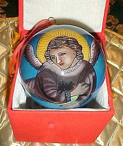 Reverse painted glass ball Christmas ornament Heavenly Angel