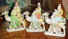 Porcelain Christmas Nativity wise men Kings on camels