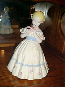 Vintage ceramic old fashioned young lady figurine 9.75""