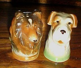 Very old collie and terrier dog salt and pepper shakers Japan