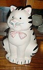 Black and white stripe tabby cat cookie jar RM