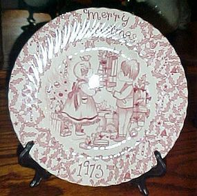 Crownford China 1973 Merry Christmas plate by Norma Sherman England
