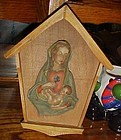Vintage Toriart Arni resin wood Madonna and child wall plaque shrine