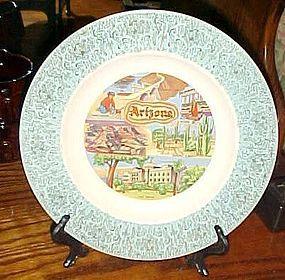 Vintage Arizona state souvenir plate turquoise border