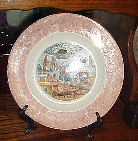 Vintage New Mexico state souvenir plate scenic attractions pink border